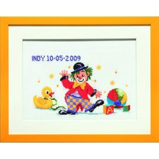 Geboortetegel Clown borduurpakket - Pako