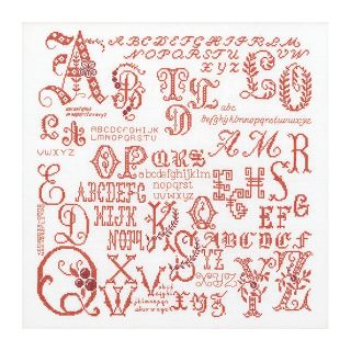 Borduurpakket Antieke Letters Merklap rood Aida - Thea Gouverneur