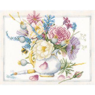 Borduurpakket Bloemen in een witte pot - Marjolein Bastin