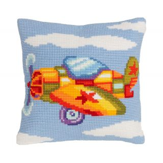 Kussen borduurpakket Vliegtuigje - Collection d'Art
