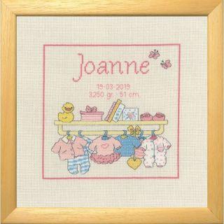 Borduurpakket Happy Friends Joanne geboortetegel - Permin