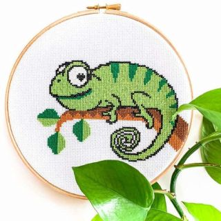 Borduurpakket Kameleon - Studio Koekoek