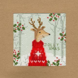 Borduurpakket kerstkaart Jolly Xmas - Bothy Threads