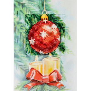Kerstkaart Kerstbal huisjes (voorbedrukt) - Orchidea