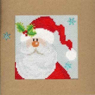 Borduurpakket kerstkaart Snowy Santa - Bothy Threads