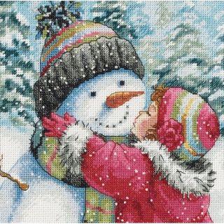 Borduurpakket A Kiss for Snowman - Dimensions