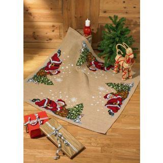 Borduurpakket Kleed Slapende kerstman  - Permin