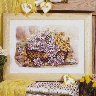 Borduurpakket Mand met bloemen voorbedrukt - Orchidea