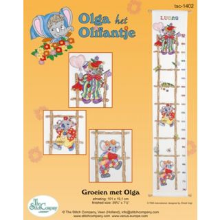 Borduurpakket Groeimeter Olga het Olifantje Aida - Stitch Company