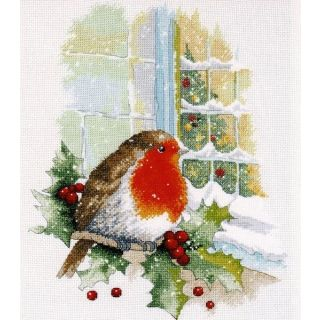 Borduurpakket On Christmas Eve - roodborstje - Oven