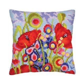 Kussen Red Poppies - borduurpakket Collection d'Art