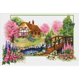 Borduurpakket Spring Cottage voorbedrukt - Needleart World