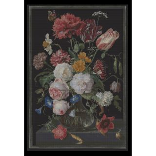 Borduurpakket Stilleven met bloemen in een glazen vaas Black Collection - Thea Gouverneur