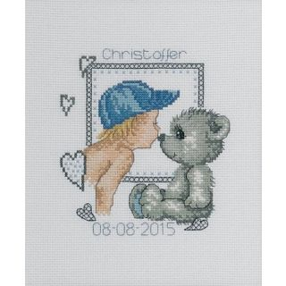 Borduurpakket Teddy jongen geboortetegel - Permin
