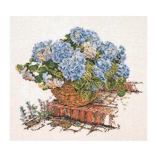 Borduurpakket Mand met blauwe Hortensia Aida - Thea Gouverneur
