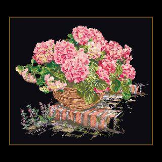 Borduurpakket Mand met roze Hortensia Black Collection - Thea Gouverneur