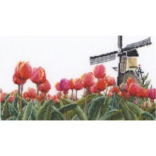 Borduurpakket Bollenveld Tulp Linnen - Thea Gouverneur