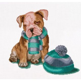 Borduurpakket Puppy It's cold outside - Thea Gouverneur