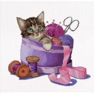 Borduurpakket Kitten In sewing basket - Thea Gouverneur