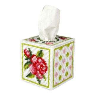Borduurpakket Tissue box Roos  - Orchidea