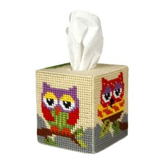 Borduurpakket Tissue box Uiltjes - Orchidea