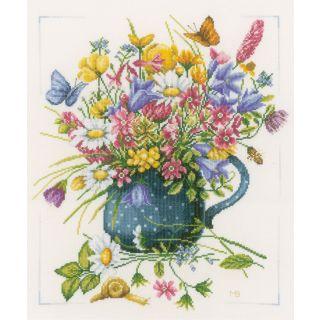 Borduurpakket Veldbloemen in een vaas - Marjolein Bastin