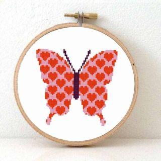 Borduurpakket Verliefde vlinder - Studio Koekoek