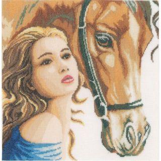 Borduurpakket Vrouw met paard - Lanarte