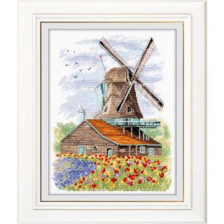Borduurpakket Windmill Holland - molen - Oven