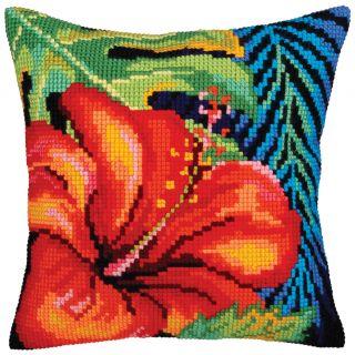 Kussen borduurpakket Hibiscus Flower - Collection d'Art