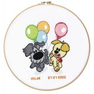 Geboortetegel Woezel & Pip kids met ballonnen borduurpakket - Pako