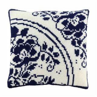 Borduurpakket kussen Delfts blauwe bloem - Pako