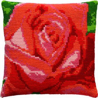 Borduurpakket Rode roos kussen - Pako