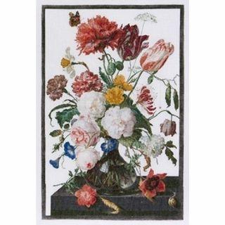 Borduurpakket Stilleven met bloemen in een glazen vaas Linnen - Thea Gouverneur