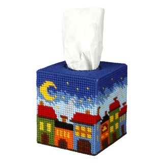 Borduurpakket Tissue box Huisjes - Orchidea
